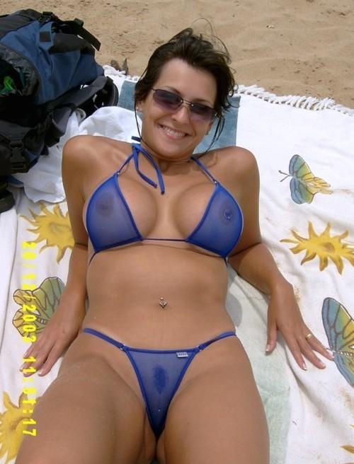 Brunette milf micro bikini